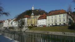 Ljubljana city center Stock Footage