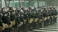 Riot Police Rain 9 - stock footage