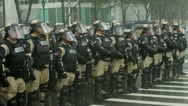 Stock Video Footage of Riot Police Rain 9