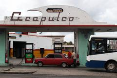Acapulco Gas Station, La Habana Cuba Stock Photos