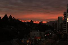Andes Mountains Sunset Santiago de Chile Stock Photos