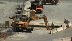 Earth Mover working road construction Stock Footage