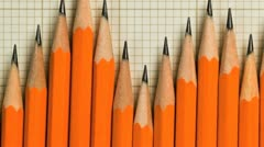Pencils in a pattern of a graph Stock Footage
