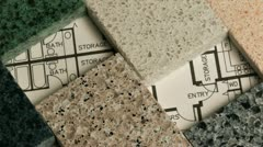 Selection of granite stone counter top and floor tiles samples Stock Footage