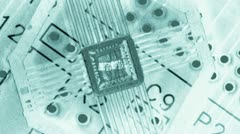 Integrated circuits with covers off showing internal silicon chips Stock Footage