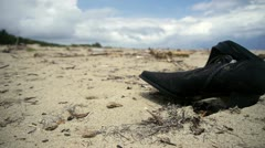 DOLLY: Beach pollution Stock Footage