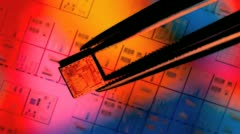 Silicon ic chip with wafer background Stock Footage