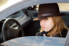 Serious young driver Stock Photos