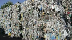 Stack of recycled plastic bags at recycling plant Stock Footage