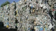 Stock Video Footage of Stack of recycled plastic bags at recycling plant
