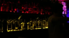 Blurry view of night club's bar - drugs, alcohol, disease, vision - stock footage