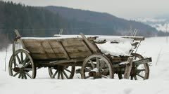 Wooden cart resting during wintertime Stock Footage