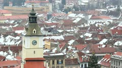 Brasov central Council Tower in winter Stock Footage