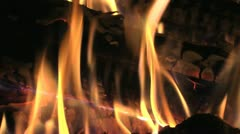 Stock Video Footage of Roaring Flames Burning Log