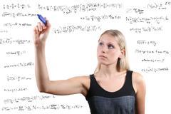 woman writes mathematical equations - stock illustration