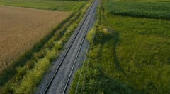 AERIAL: Empty railroad Stock Footage