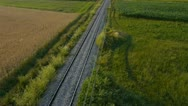 Stock Video Footage of AERIAL: Empty railroad