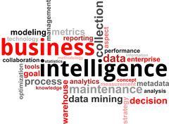 word cloud - business intelligence - stock illustration