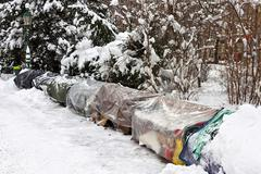 Roost of homeless people in winter Stock Photos