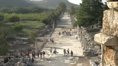 History & culture, Ephesus ruins, harbour road medium long Stock Footage