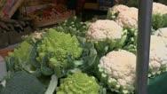 Farmers Market Cauliflower Romanesco Green Cabbage Stock Footage