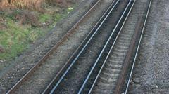 Train heads through frame Stock Footage