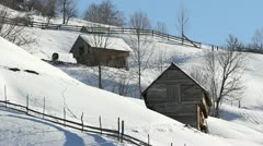 Houses in the snow Stock Footage