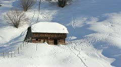 Rustic shed in the snow Stock Footage