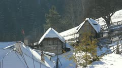 Two small houses in winter Stock Footage