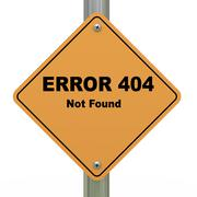 Error 404 not found road sign Stock Illustration