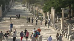History & culture, Ephesus ruins, harbour road, tourists Stock Footage