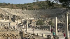 History & culture, Ephesus ruins, theatre WS with foreground Stock Footage