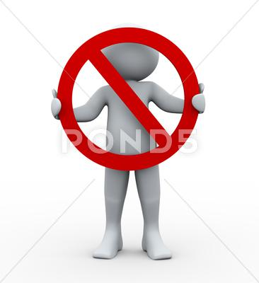 Stock Illustration of 3d person and stop sign