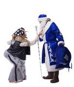 baba yaga and father christmas - stock photo