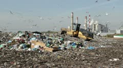Bulldozer at landfill (4) Stock Footage