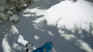 Stock Video Footage of Snowboarder riding powder