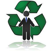 worker recycling - stock illustration