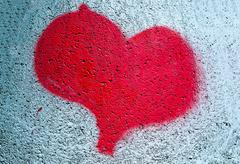 painted red heart - stock photo