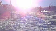 Snowboarder making snow spray Stock Footage
