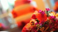 Stock Video Footage of Flower Cake Wedding Focus Pull