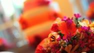 Stock Video Footage of Flower Cake Wedding Focus Pull