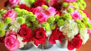 Stock Video Footage of Wedding Flowers Out of focus dolly Out
