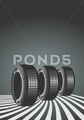 Stock Illustration of Car tires on black background