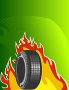 Car tire on green background - stock illustration