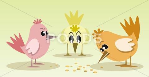 Stock Illustration of Cute and colorful little birds, illustration