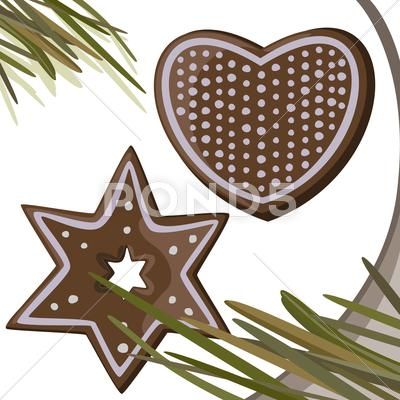 Stock Illustration of Gingerbread stars and heart