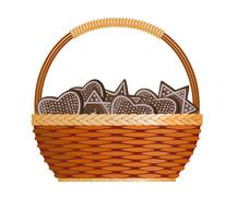 Basket with ginger cakes - stock illustration