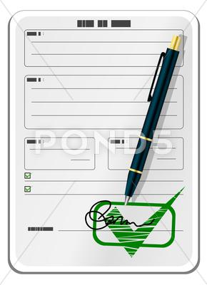 Stock Illustration of Blank form with signature and pen