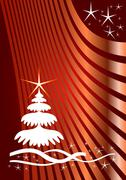 Stock Illustration of Christmas card, line background with stars