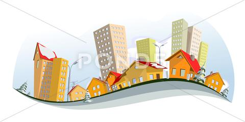 Stock Illustration of Colorful abstract city - winter. Vector art
